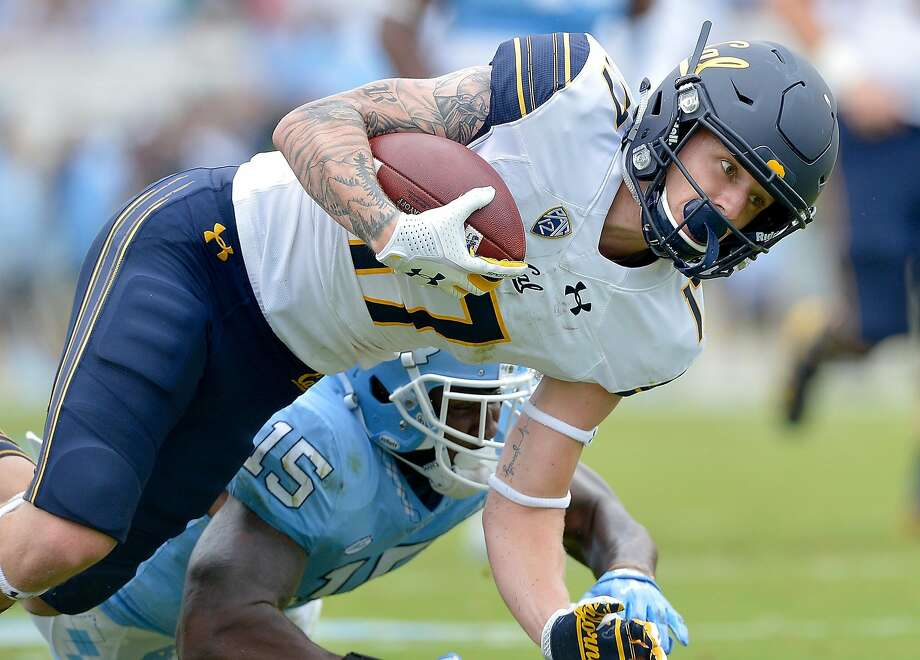 CHAPEL HILL, NC - SEPTEMBER 02:  Vic Wharton III #17 of the California Golden Bears makes a catch against Donnie Miles #15 of the North Carolina Tar Heels during their game at Kenan Stadium on September 2, 2017 in Chapel Hill, North Carolina.  (Photo by Grant Halverson/Getty Images) Photo: Grant Halverson, Getty Images