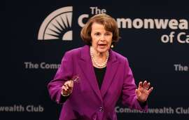 Sen. Dianne Feinstein acknowledges a standing ovation before a conversation with Ellen Tauscher during The Commonwealth Club of California event at Herbst Theater in San Francisco, Calif. on Tuesday, August 29, 2017.