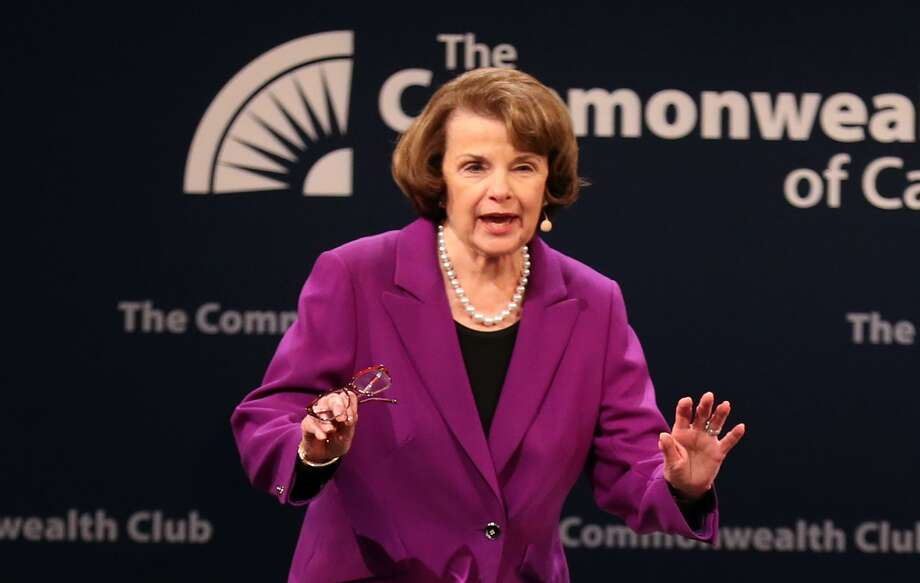 Sen. Dianne Feinstein acknowledges a standing ovation before a conversation with Ellen Tauscher during The Commonwealth Club of California event at Herbst Theater in San Francisco, Calif. on Tuesday, August 29, 2017. Photo: Scott Strazzante / The Chronicle / **MANDATORY CREDIT FOR PHOTOG AND SF CHRONICLE/NO SALES/MAGS OUT/TV