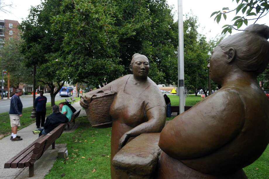 """""""Gossip,"""" by Martha Pettigrew, is one of more than 40 works on display by the city of Stamford. Photographed in Latham Park in downtown Stamford, Conn. on Tuesday, August 29, 2017. Photo: Michael Cummo / Hearst Connecticut Media / Stamford Advocate"""