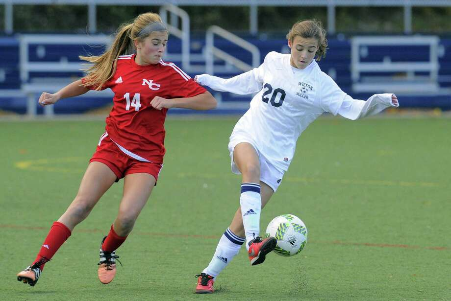 Wilton High's girls soccer program is one that has flourished since Title IX was passed 45 years ago. Photo: Matthew Brown / Hearst Connecticut Media / Stamford Advocate