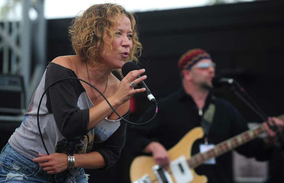 Christine Tambakis belts out a song with Baby Dynamite during the 10th annual Blues, Views and BBQ Festival Saturday, September 2, 2017, in Westport, Conn. This years festival welcomed first time performers Bonerama, Paul Barrere & Fred Tackett performing the music of Little Feat, the New Orleans Suspects, Taz and Friends and the return of Anders Osborne. Photo: Erik Trautmann / Hearst Connecticut Media / Norwalk Hour
