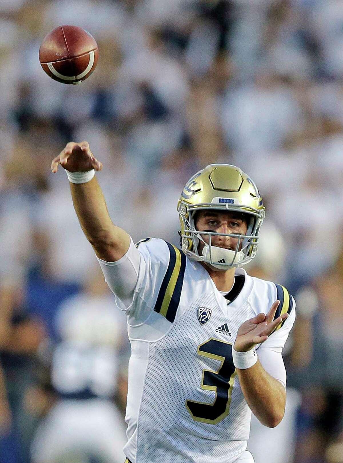 UCLA quarterback Josh Rosen (3) throws before the start of their NCAA college football game against BYU Saturday, Sept. 17, 2016, in Provo, Utah. (AP Photo/Rick Bowmer)