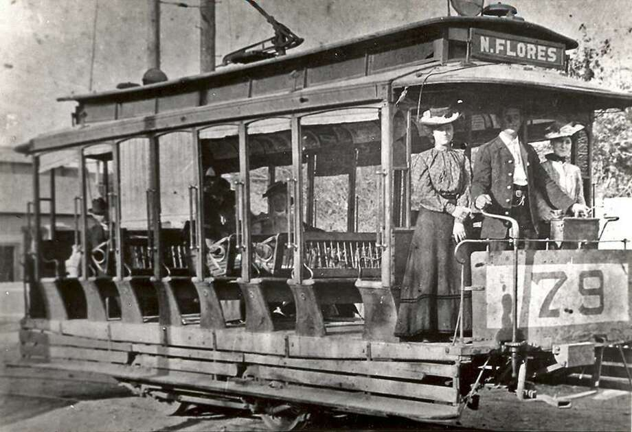 An 1890s San Antonio streetcar with shades to protect passengers from the sun. Early San Antonio streetcar companies had open cars for use in the summer and enclosed cars for the winter. Photo: Courtesy Texas Transportation Museum