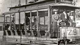 An 1890s San Antonio streetcar with shades to protect passengers from the sun. Early San Antonio streetcar companies had open cars for use in the summer and enclosed cars for the winter.