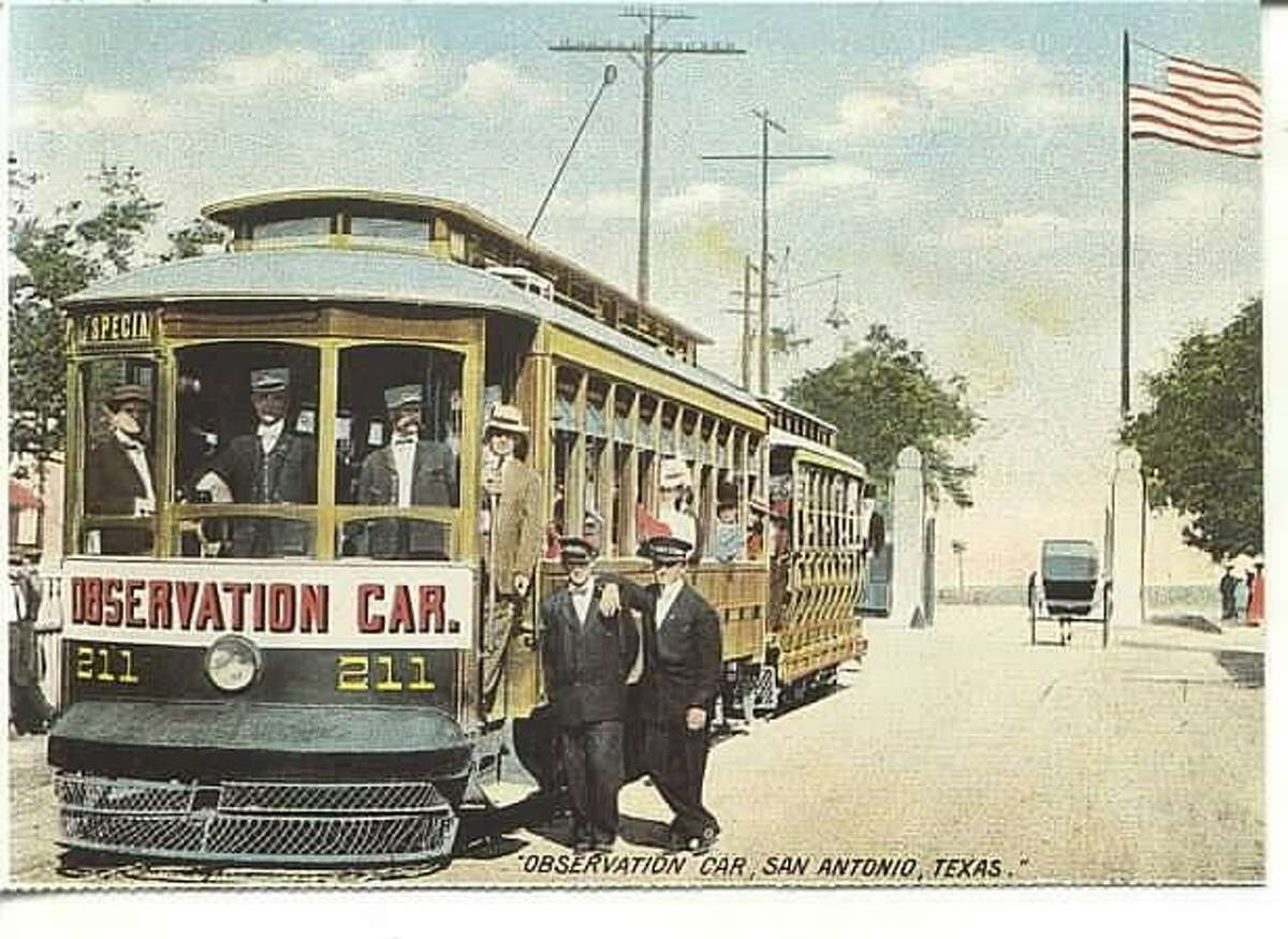 """A San Antonio streetcar is shown on a postcard. The """"Observation Car"""" on a """"special"""" route means the streetcar likely was taking passengers to a sports event."""