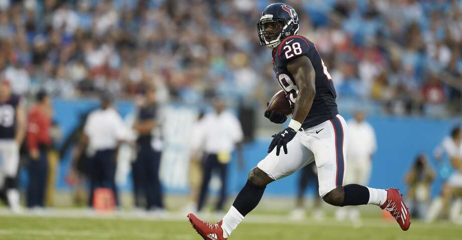 Houston Texans running back Alfred Blue (28) runs against the Carolina Panthers during the first half of an NFL preseason football game, Wednesday, Aug. 9, 2017, in Charlotte, N.C. (AP Photo/Mike McCarn) Photo: Mike McCarn/Associated Press