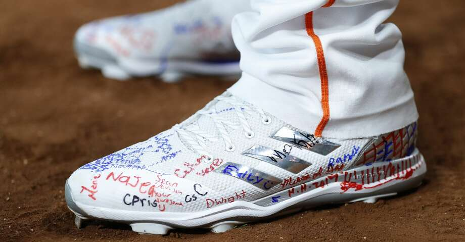 PHOTOS: Astros game-by-gameHouston Astros pitcher Joe Musgrove wears shoes that were signed by displaced children at the George R Brown shelter, yesterday, before the start of an MLB baseball game at Minute Maid Park, Saturday, Sept. 2, 2017, in Houston.  This is the first professional sporting event in the city since Tropical Storm Harvey. ( Karen Warren / Houston Chronicle )Browse through the photos to see how the Astros have fared in each game this season. Photo: Karen Warren/Houston Chronicle