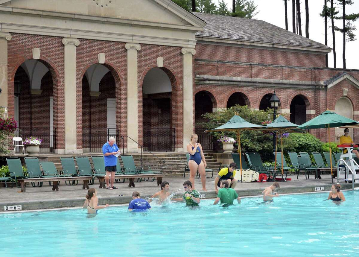 State park lifeguards take a water safety instructing course at Saratoga Spa State Park's Victoria Pool Thursday June 26, 2014, in Saratoga Springs, NY. (John Carl D'Annibale / Times Union)
