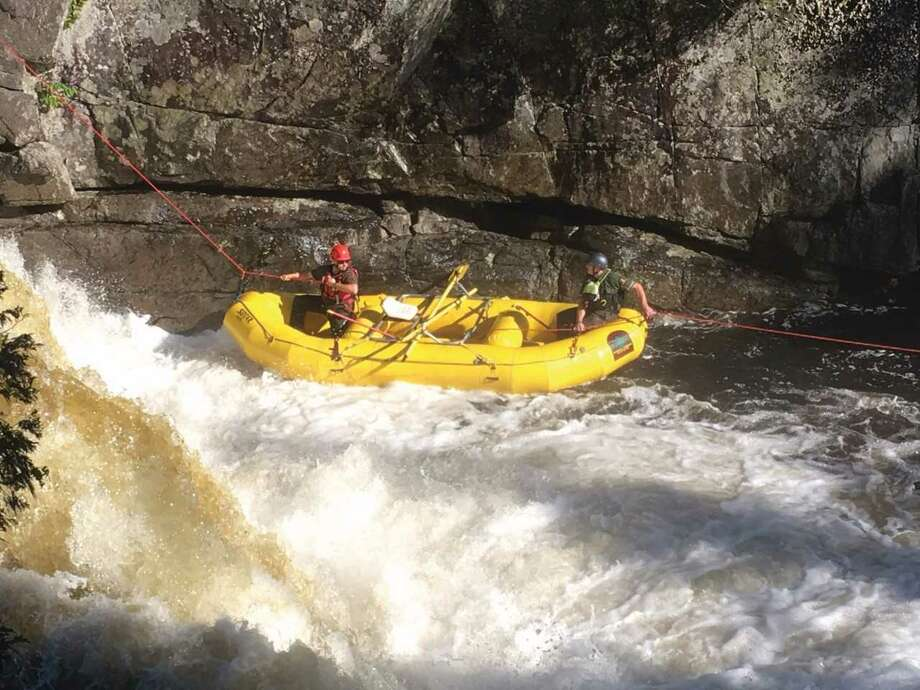Photo from NYSDEC Forest rangers responding to an emergency at the Flume in the West Branch of the Ausable River in early July.