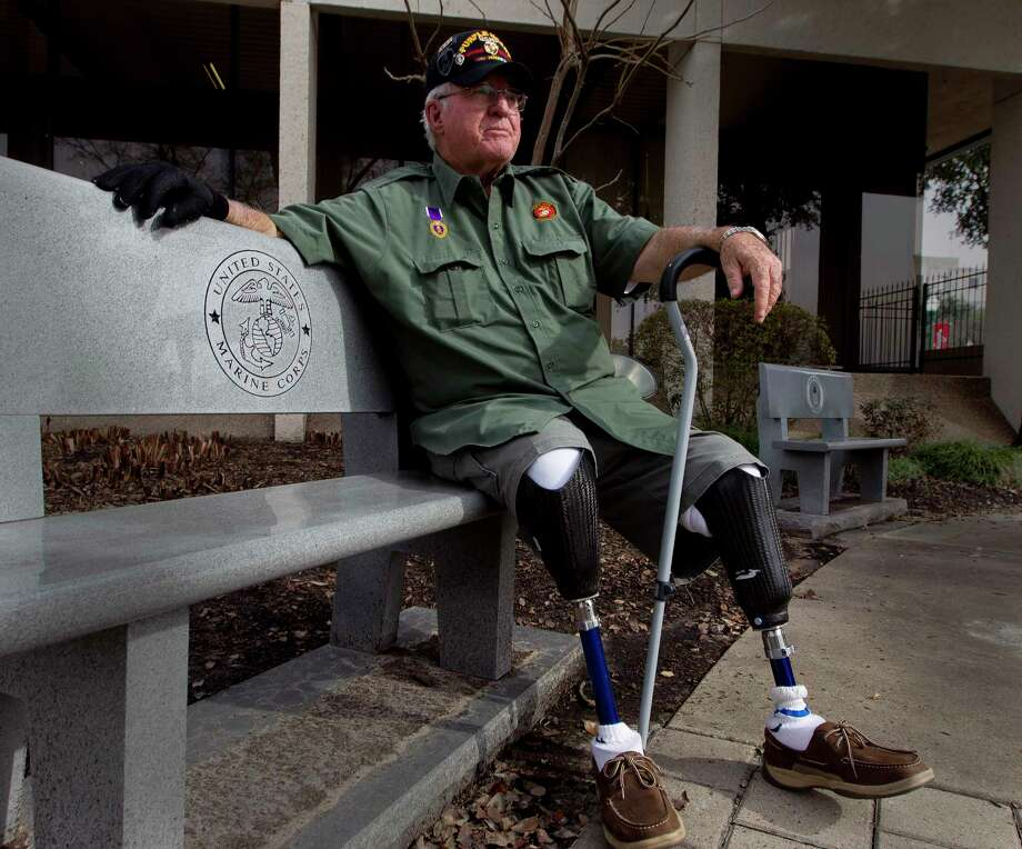 Retired United States Marine Corps Cpl. Jimmie Edwards III is working to decommission the Montgomery County War Memorial Park in hopes to relocate it from its current location nestled between the county tax office and Conroe Tower to a larger, more visible and accessible location. The former state representative  and Montgomery County Judge is the chairman for a commission to move the memorial. Edwards lost both legs after being hit by a mortar shell while serving in Vietnam in August 1969. Photo: Jason Fochtman, Staff Photographer / Stratford Booster Club