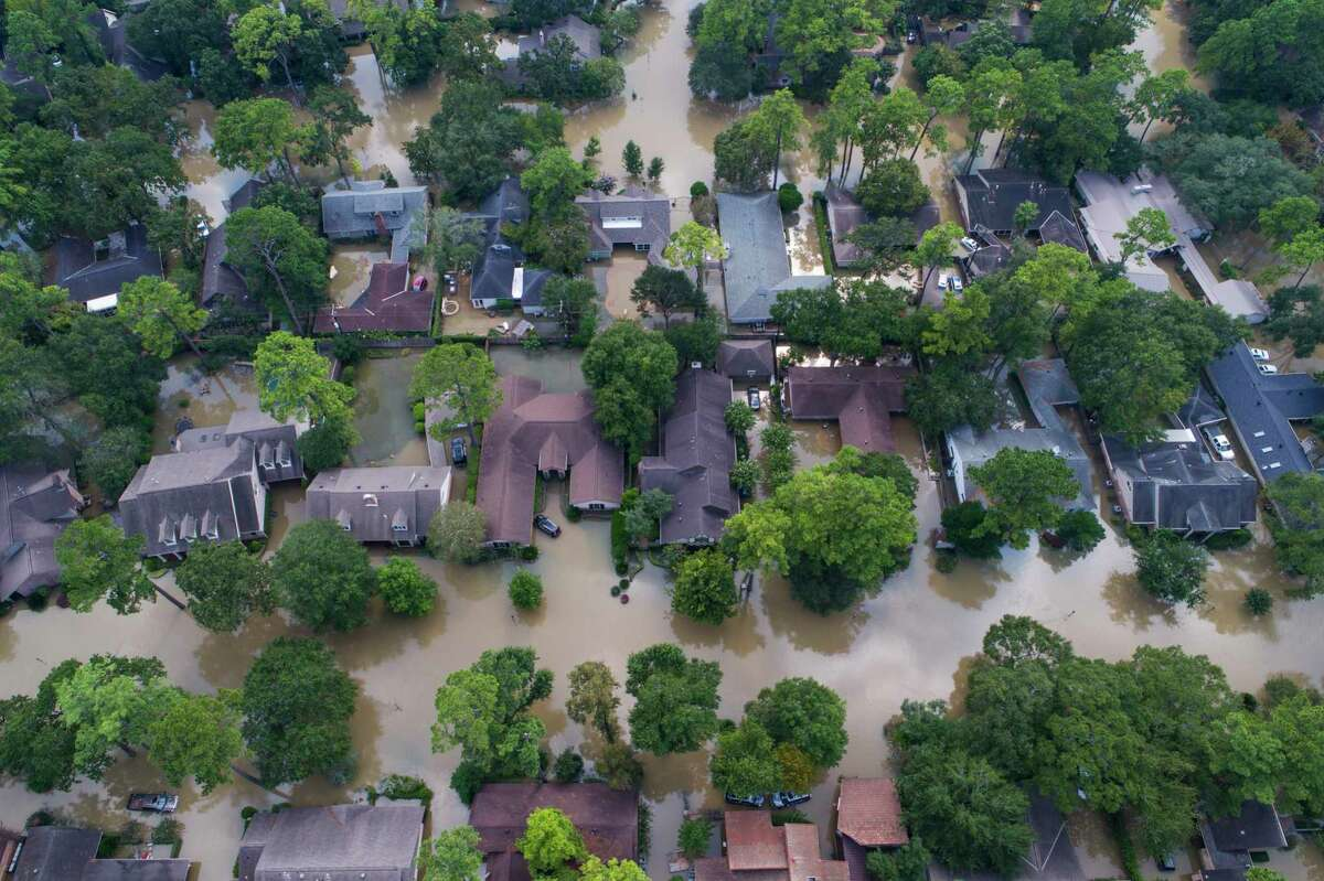 Homes just east of Beltway 8 are inundated with water from the overflowing Buffalo Bayou north of Briar Forest Dr., Saturday, September 2, 2017, in Houston. Houston mayor Sylvester Turner issued a new mandatory evacuation order Saturday for homes with water in them south of Interstate 10, north of Briar Forest, east of Highway 6 and west of Gessner Rd. As water continues to be released from the Addicks and Barker reservoirs.