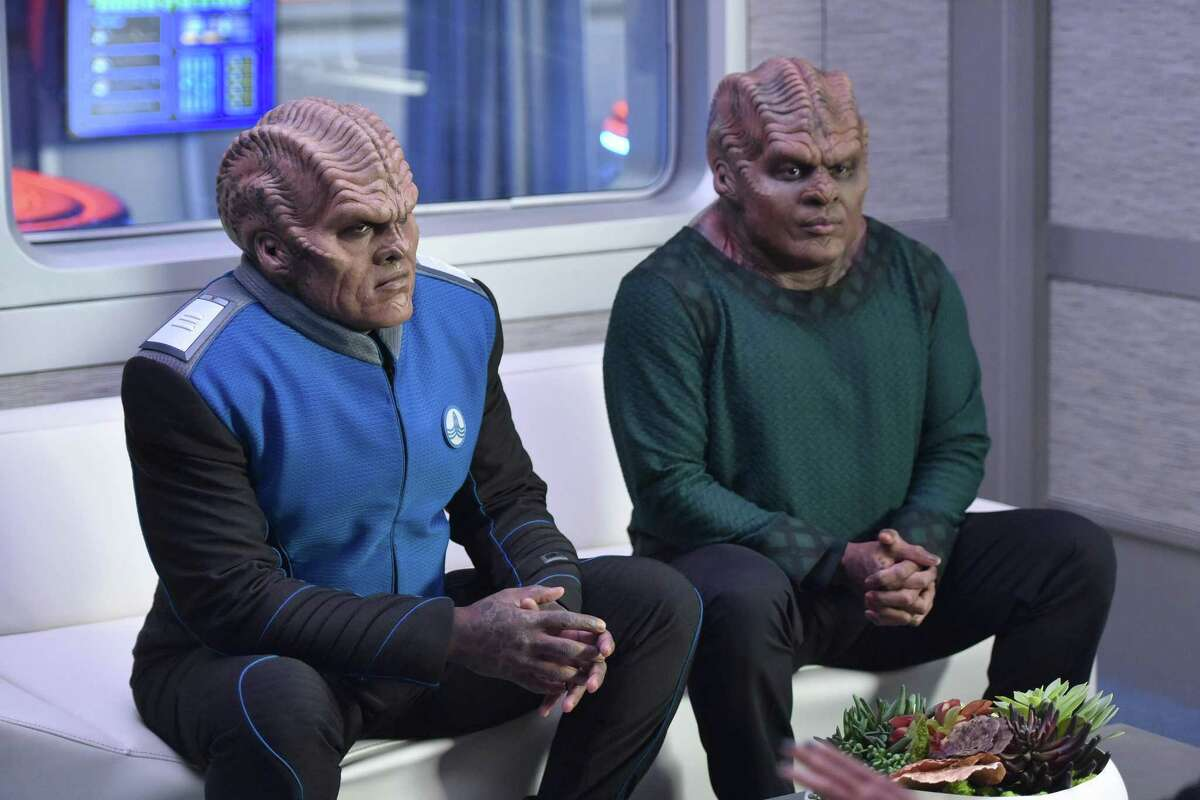 """THE ORVILLE: L-R: Peter Macon and Chad Coleman in the new space adventure series from the creator of """"Family Guy."""" The first part of the special two-part series premiere of THE ORVILLE will air Sunday, Sept. 10 (8:00-9:00 PM ET/PT), immediately following the NFL ON FOX Doubleheader. ©2017 Fox Broadcasting Co. Cr: Michael Becker/FOX"""