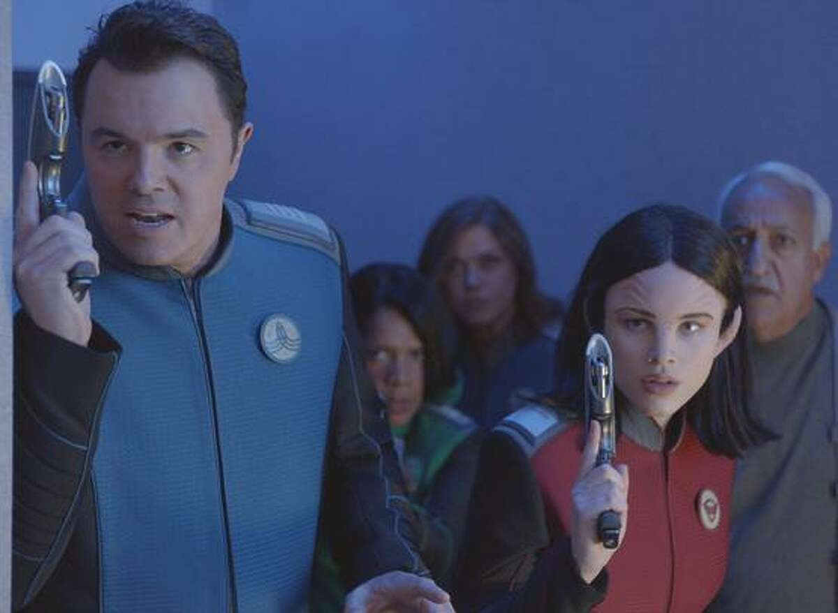 Seth MacFarlane, Penny Johnson Jerald, Adrianne Palicki, Halston Sage and guest star Brian George in THE ORVILLE premiering this fall on FOX.