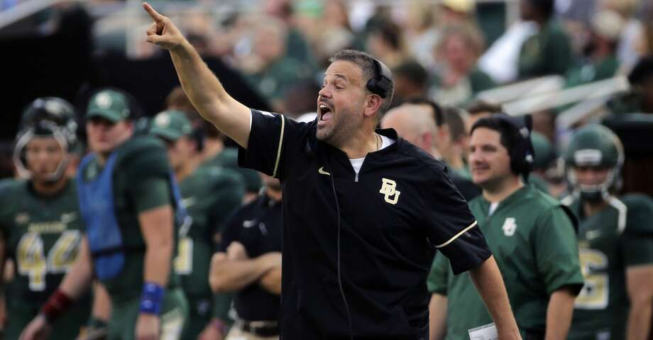 Baylor head coach Matt Rhule calls in a play against Liberty in the first half of an NCAA college football game, Saturday, Sept. 2, 2017, in Waco, Texas. (Jerry Larson/Waco Tribune Herald, via AP) Photo: Jerry Larson/Associated Press