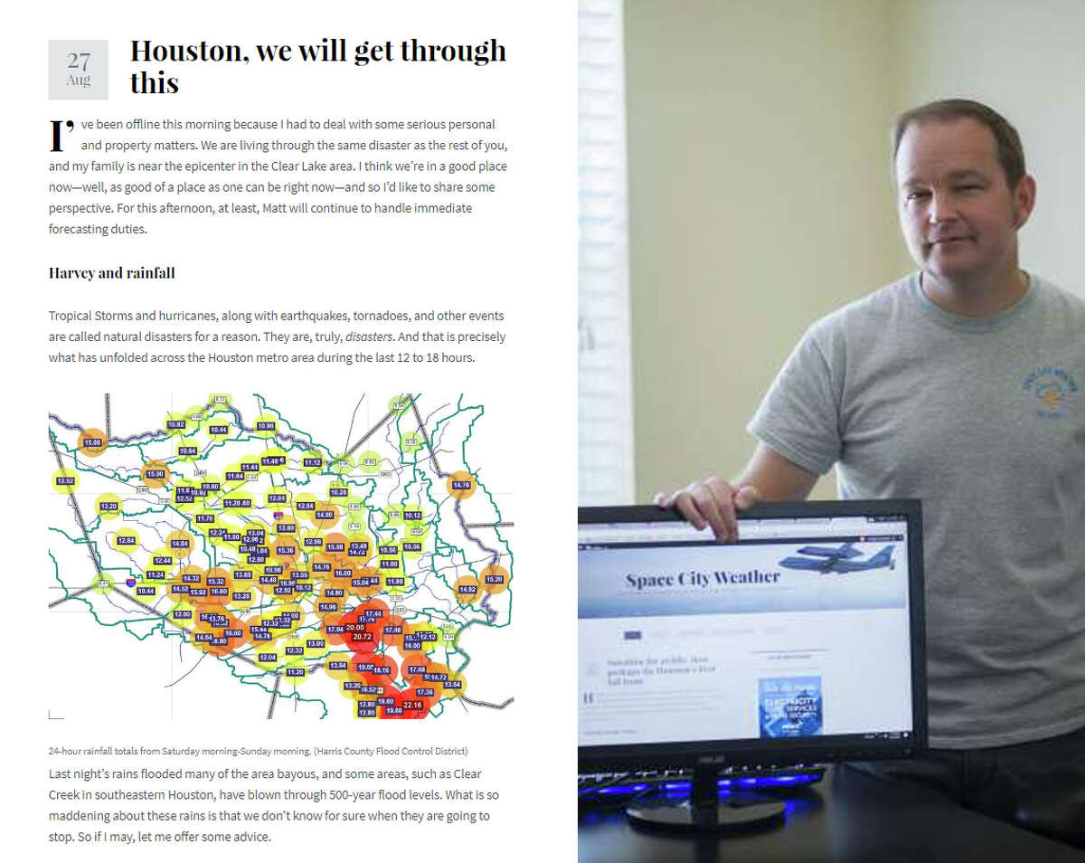 While Hurricane Harvey bore down on the Texas coast, Eric Berger was here, in his third-floor League City apartment with his wife and two children, writing for Space City Weather, the blog that became a valuable resource for weather-watchers before, after and during the storm.