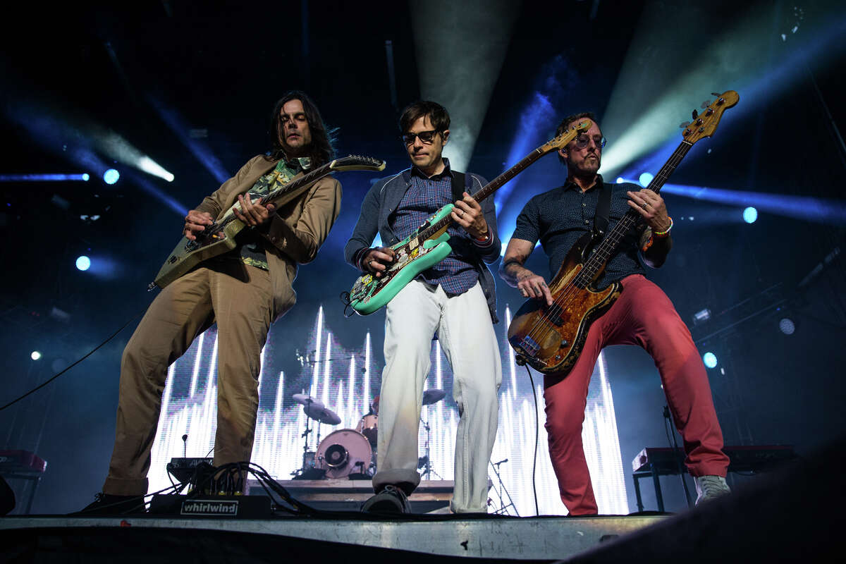 Weezer performs on the main stage during the second day of Bumbershoot at Seattle Center on Saturday, Sept. 2, 2017.