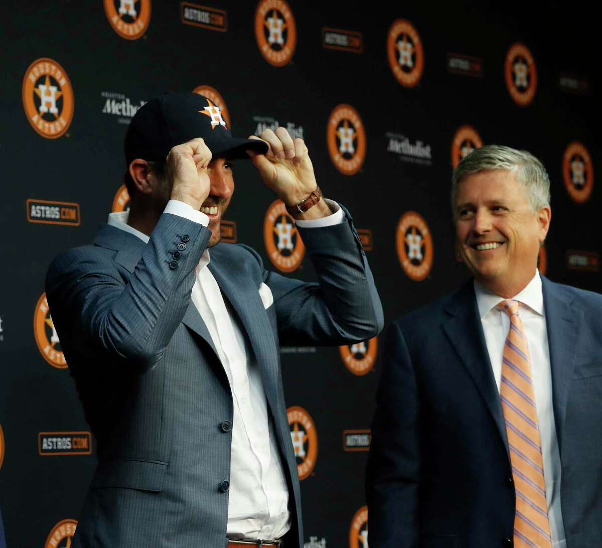Houston Astros GM Jeff Luhnow and manager A.J. Hinch officially introduced pitcher Justin Verlander to the media before the start of an MLB baseball game at Minute Maid Park, Sunday, Sept. 3, 2017, in Houston, after he was acquired Thursday.