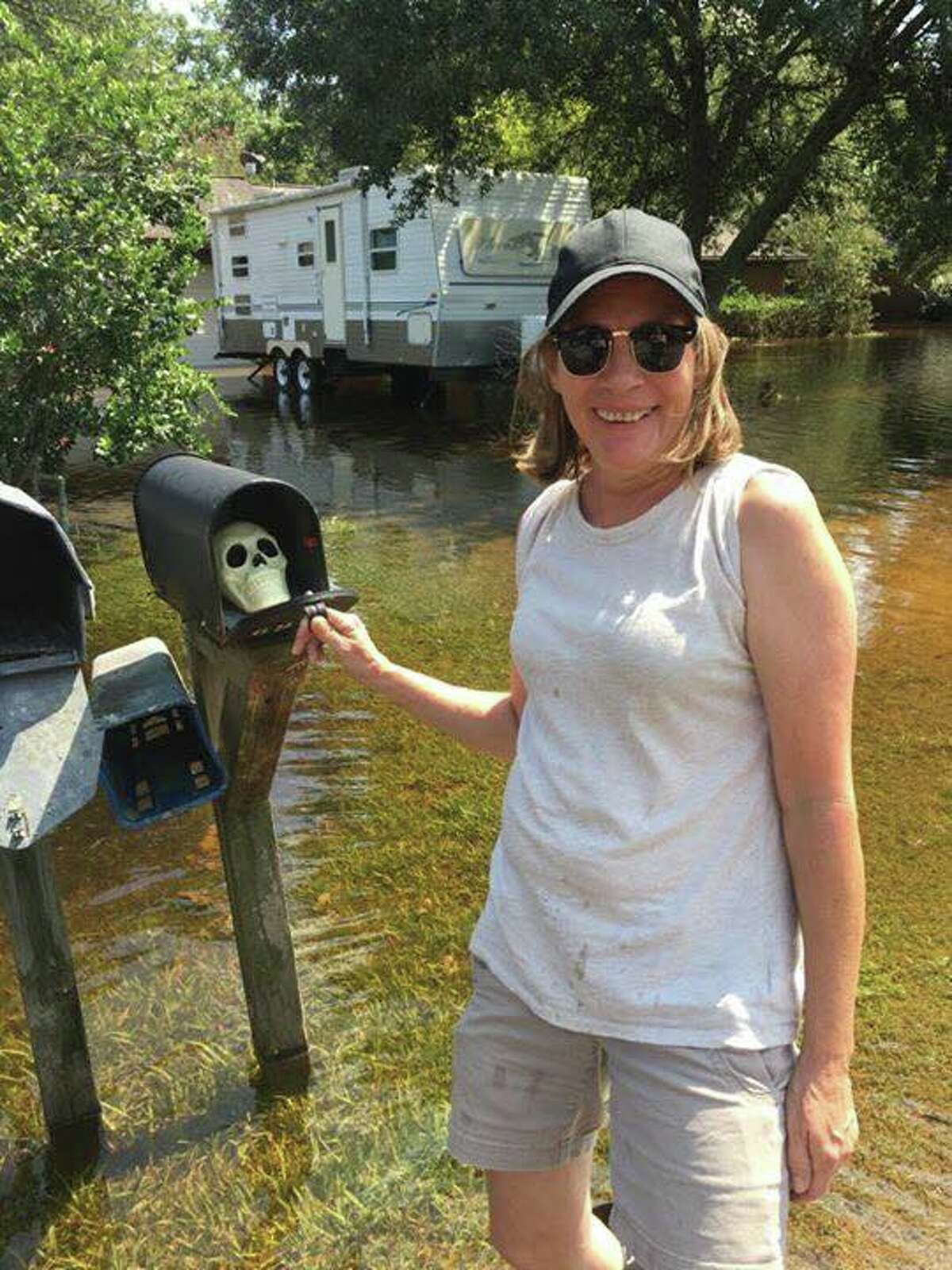 When Stacy Cox Brady found this plastic skull floating by she decided to put it in her neighbor's mailbox.