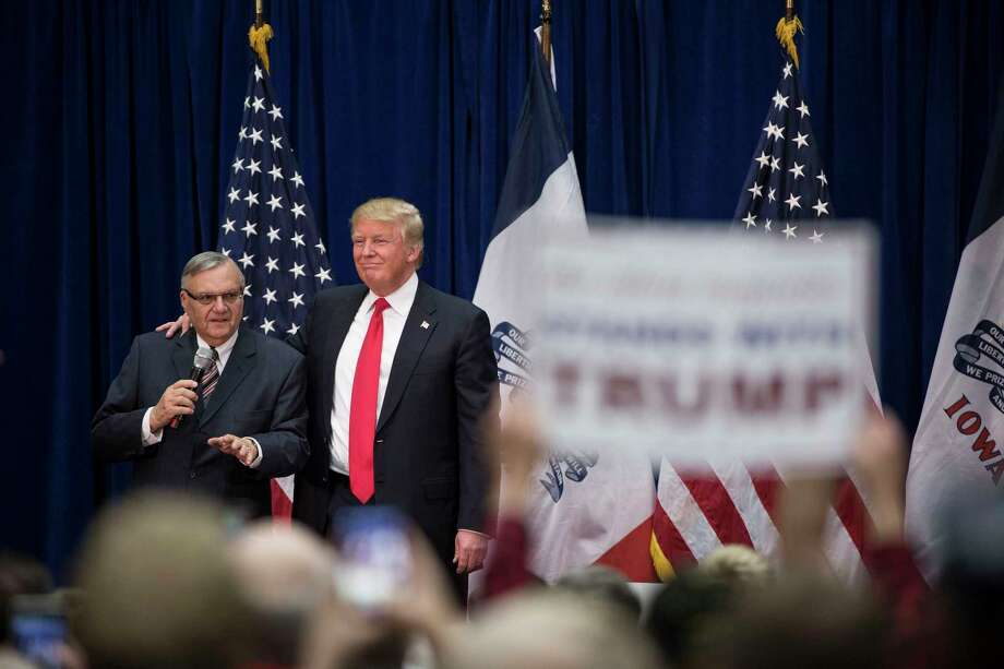 Joe Arpaio, the Maricopa County sheriff, campaigns on behalf of Donald Trump in Marshalltown, Iowa, on Jan. 26, 2016. Arpaio, the former Arizona sheriff whose aggressive efforts to hunt and detain undocumented immigrants made him a divisive national symbol and earned him a criminal contempt conviction, was pardoned by Trump on Aug. 25.  (Damon Winter/The New York Times) Photo: DAMON WINTER, STF / NYTNS