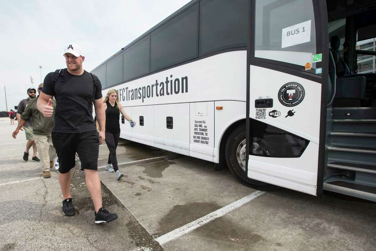Houston Texans defensive end J.J. Watt gives a thumbs up as he as he gets ready to lead his teammates in distributing relief supplies to people impacted by Hurricane Harvey on Sunday, Sept. 3, 2017, in Houston. J.J. Watt's Hurricane Harvey Relief Fund, which raised more than $17 million to date to help those affected by the storm.