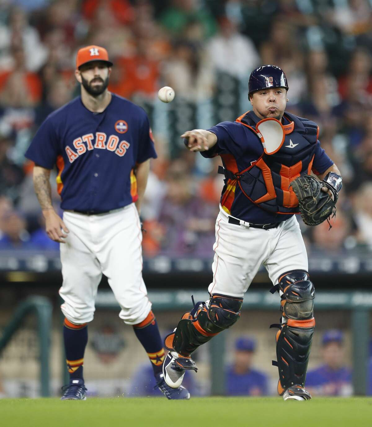 Houston Astros catcher Juan Centeno (30) makes the throw to first base as New York Mets Asdrubal Cabrera was out on a sacrifice bunt during the fifth inning of an MLB baseball game at Minute Maid Park, Sunday, Sept. 3, 2017, in Houston. ( Karen Warren / Houston Chronicle )