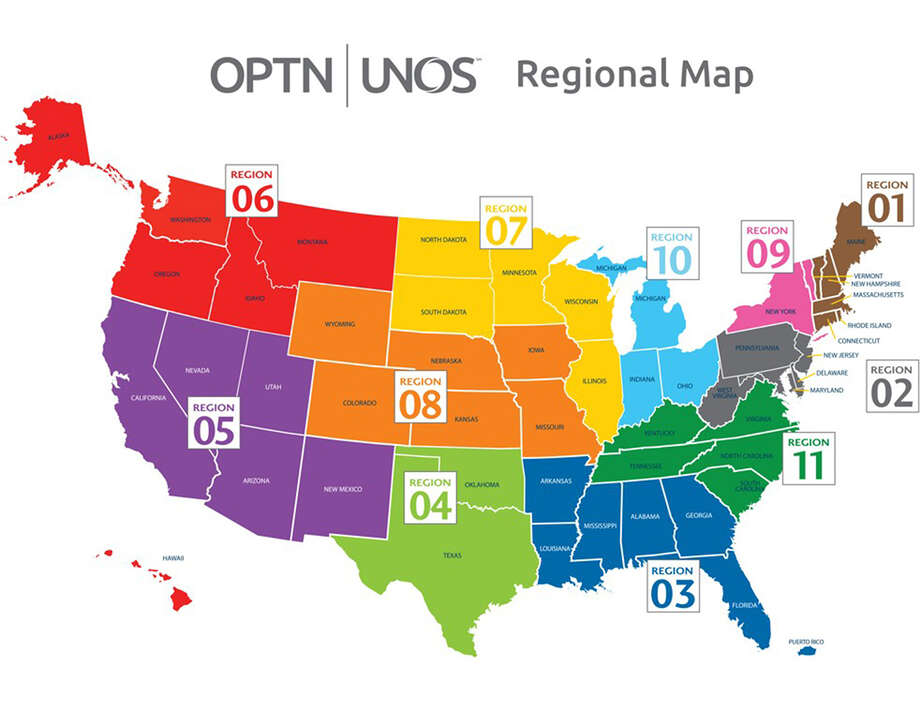 courtesy of UNOS The United States is divided into 11 regions for liver distribution. / The Washington Post