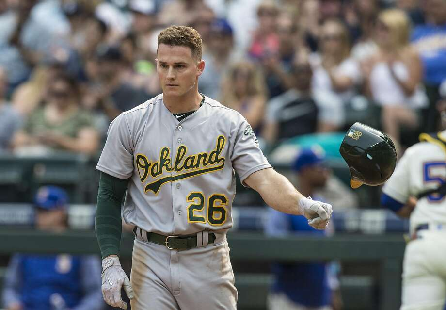 SEATTLE, WA - SEPTEMBER 3: Matt Chapman #26 of the Oakland Athletics throws his helmet after getting struck out by starting pitcher Andrew Albers #63 of the Seattle Mariners to end the second inning of a game at Safeco Field on September 3, 2017 in Seattle, Washington. (Photo by Stephen Brashear/Getty Images) Photo: Stephen Brashear, Getty Images