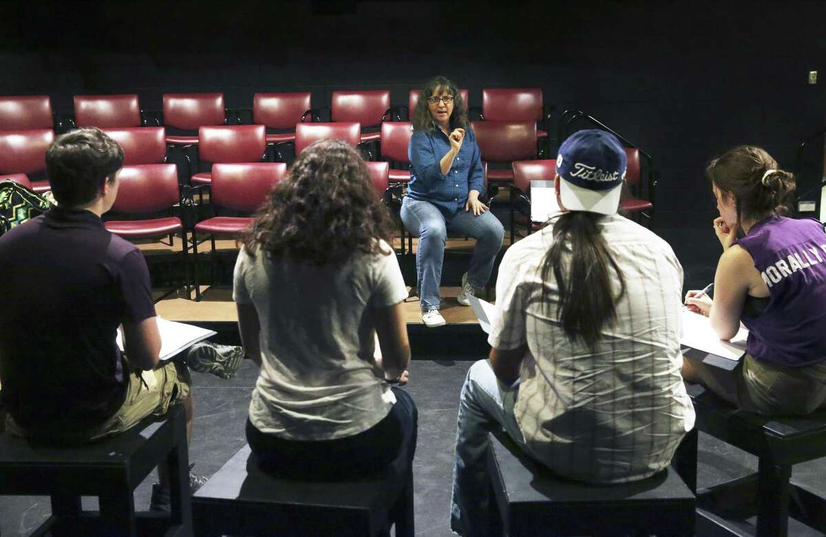 """Stacey Connelly, an associate professor of theater at Trinity University, directs readings on Aug. 22 as actors rehearse the play """"To Be Honest,"""" about San Antonians' attitudes toward Islam. The play will be presented at 6:30 p.m. Thursday at the McNay Art Museum's Leeper Auditorium."""