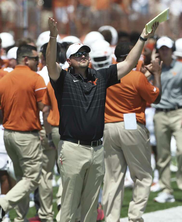 Longhorn coach Tom Herman signals out to the field as Texas plays Maryland at DKR Stadium on September 2, 2017. Photo: Tom Reel, Staff / San Antonio Express-News / 2017 SAN ANTONIO EXPRESS-NEWS