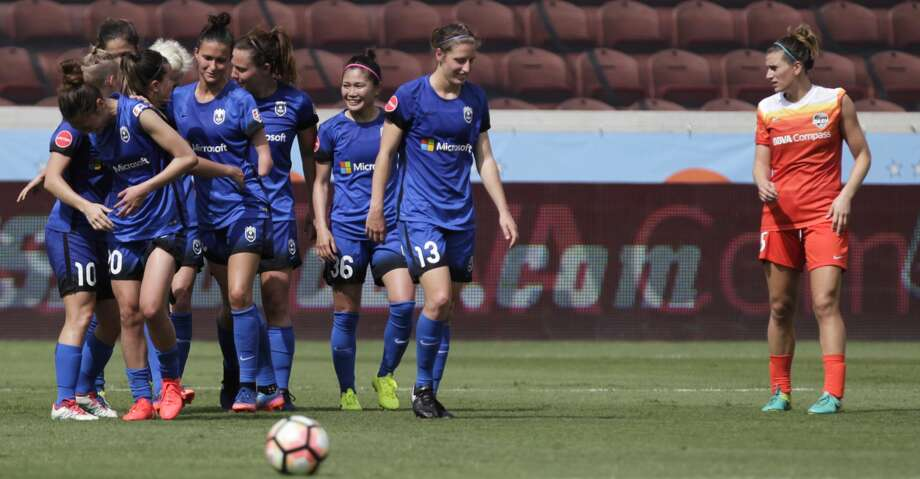 Seattle Reign FC players celebrating their second goal by Seattle Reign FC forward Katlyn Johnson (33) during the second half of the game at BBVA Compass Stadium Saturday, May 27, 2017, in Houston . ( Yi-Chin Lee / Houston Chronicle ) Photo: Yi-Chin Lee/Houston Chronicle