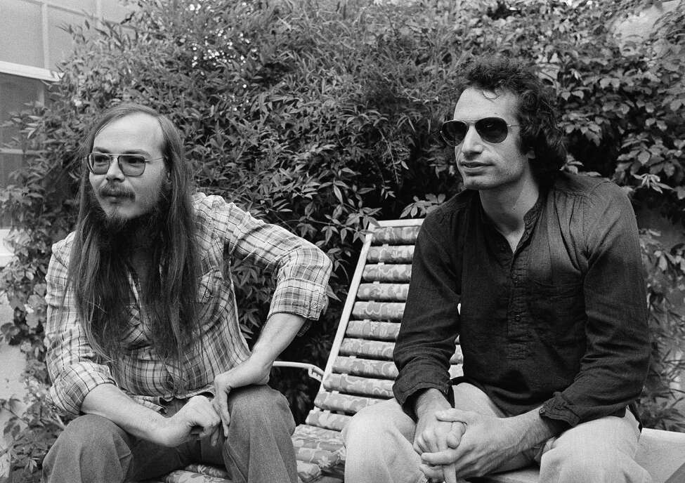 FILE - In this Oct. 29, 1977, file photo, Walter Becker, left, and Donald Fagen of Steely Dan, sit in Los Angeles. Becker, the guitarist, bassist and co-founder of the rock group Steely Dan, has died. He was 67. His official website announced his death Sunday, Sept. 3, 2017, with no further details. (AP Photo/Nick Ut, File) ORG XMIT: NYAG801