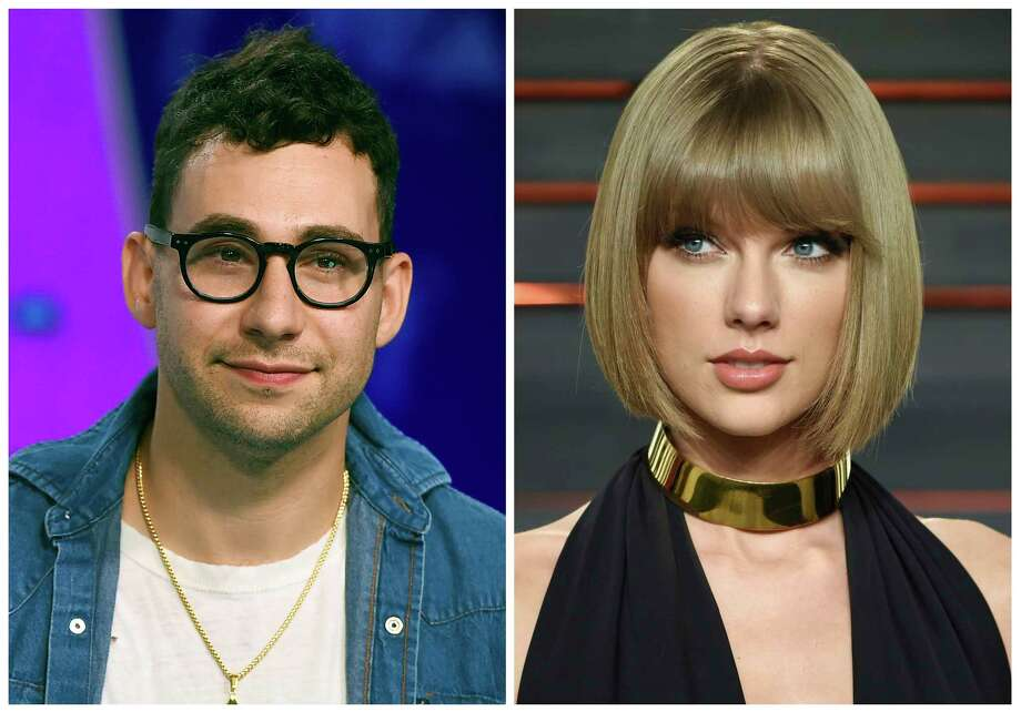 """In this combination photo, music producer  Jack Antonoff appears at the MTV Video Music Awards on Aug. 27, 2017, left, and Taylor Swift attends the Vanity Fair Fair Oscar Party in Beverly Hills, Calif. on Feb. 28, 2016. Antonoff is keeping quiet about who Swift is singing about in her new song, """"Look What You Made Me Do."""" Antonoff co-wrote and co-produced the song that is rumored to be about Kanye West. (Photos by Jordan Strauss, left, and Evan Agostini/Invision/AP, File) ORG XMIT: NYET101 / Invision/AP"""