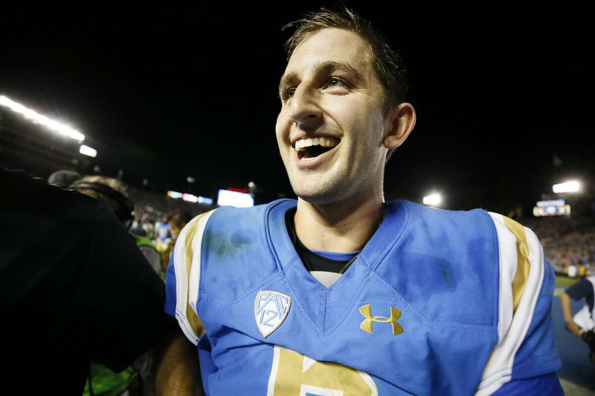 UCLA quarterback Josh Rosen leaves the field after defeating Texas A&M in an NCAA college football game, Sunday, Sept. 3, 2017, in Pasadena, Calif. UCLA won 45-44. (AP Photo/Danny Moloshok)
