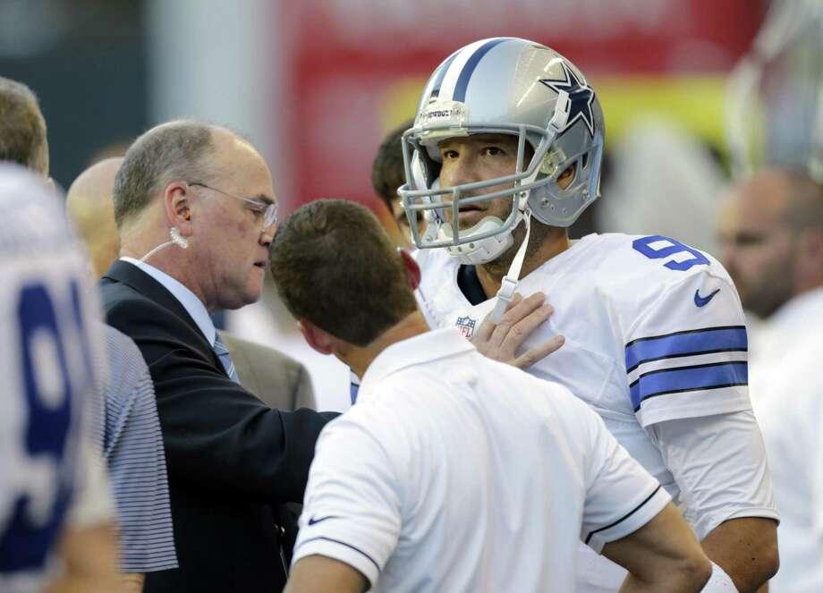 Tony Romo hurt his shoulder on Aug. 25, 2016. Now he's a broadcaster. Photo: Stephen Brashear /AP / AP