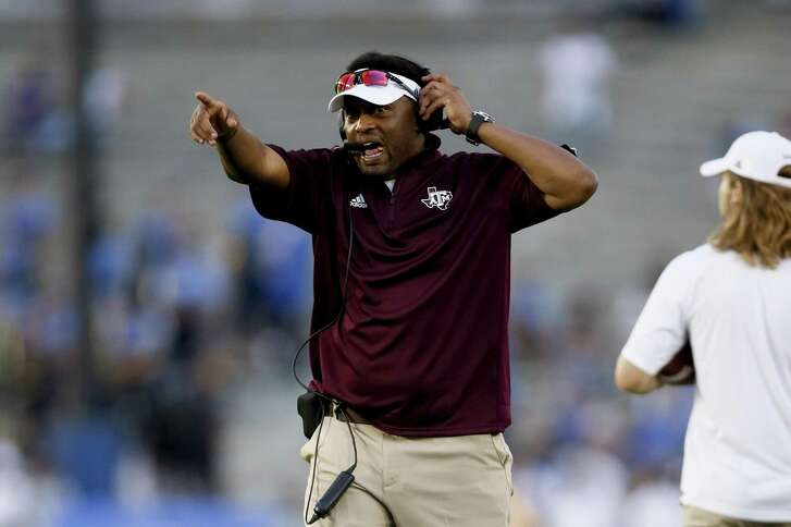 Texas A&M head coach Kevin Sumlin directs his team against UCLA on Sept. 3, 2017, in Pasadena, Calif. UCLA won 45-44.