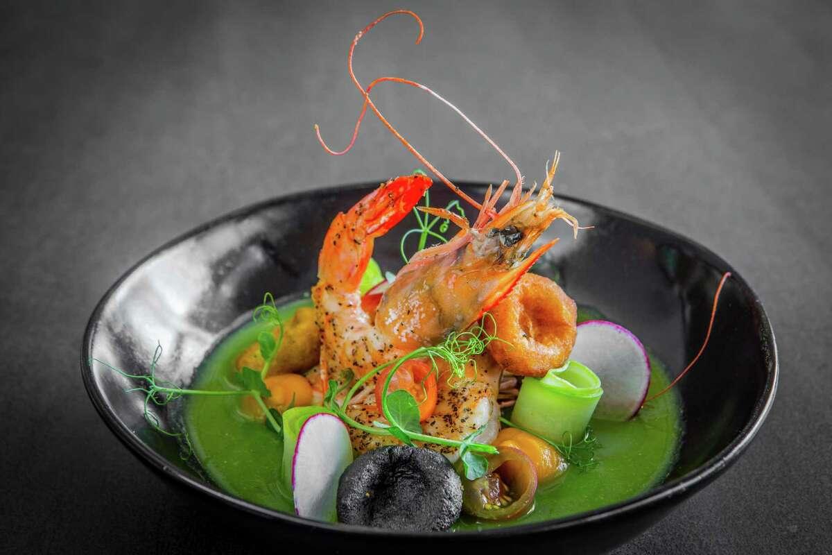 Camarones (shrimp) in green mole at Xochi