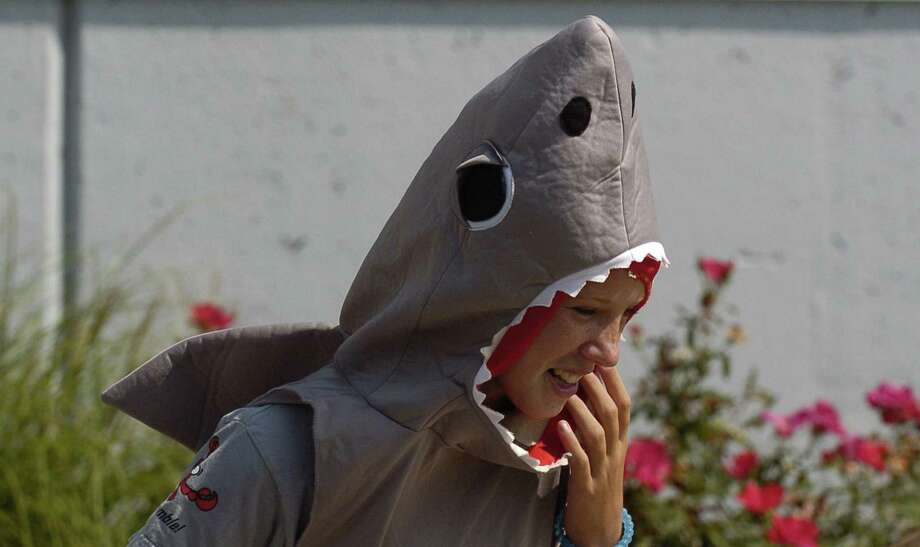 Merritt Seymour, of Darien, dons a shark costume as she prepares to participate in the Cardboard Kayak Race during the Soundwaters Harborfest 17 in Stamford Aug. 25, 2017. Photo: Matthew Brown / Hearst Connecticut Media / Stamford Advocate