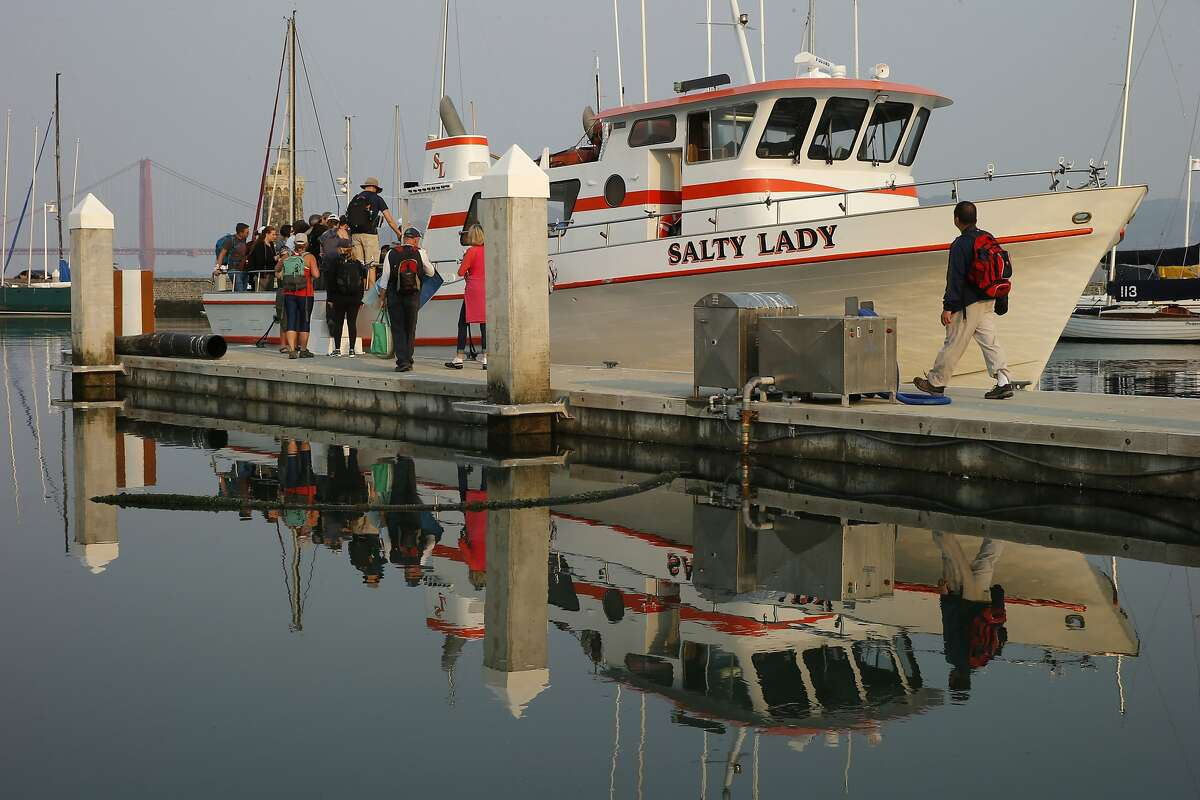 People go onboard the Salty Lady for a whale watching trip on Saturday, Sept. 2, 2017, in San Francisco, Calif.