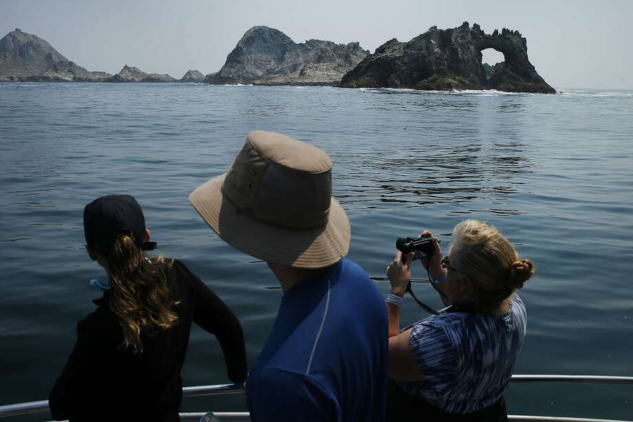 Whale watchers take photos of the Farallon Islands. Photo: Santiago Mejia, The Chronicle
