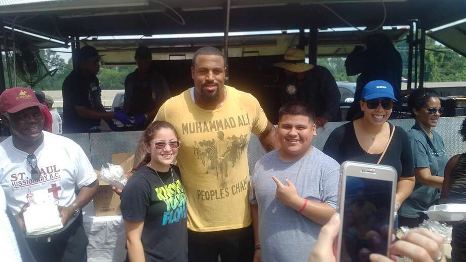 DURING DUANE BROWN'S CONTRACT HOLDOUT, HE HAS ...Handed out food and supplies on Sept. 4 in Houston's Hutcheson Park after the destruction of Hurricane Harvey. Photo: Aaron Wilson