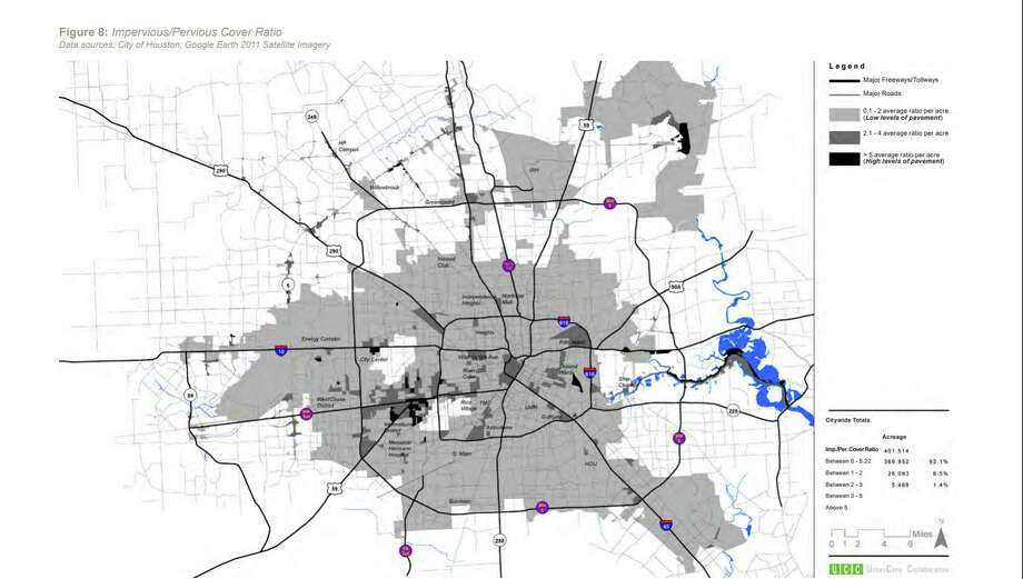 How well can rainwater soak into the city of Houston? This 2011 map shows that Houston mostly has low levels of pavement. Photo: Houston Galveston Area Council