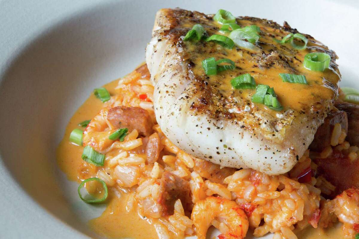 Pan seared Gulf red snapper with andouille and crawfish jambalaya at Rainbow Lodge