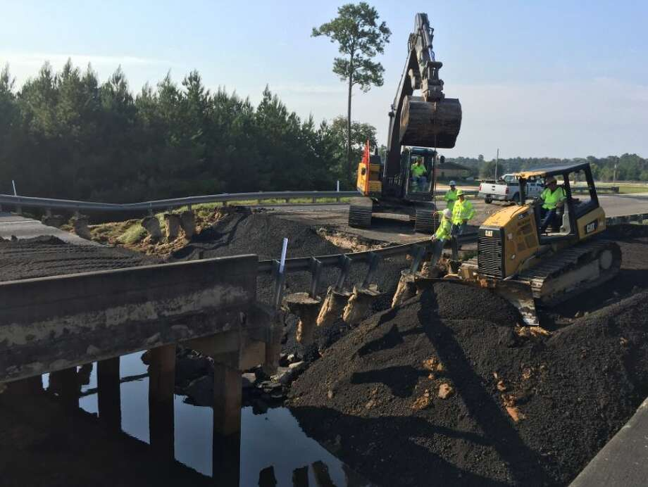 """""""We have already began repairs on the approach of the Village Creek Relief Bridge north of Lumberton."""" - TxDOT September 4, 2017 Photo: TxDOT"""