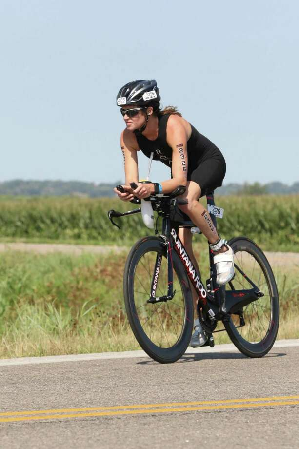 Stefanie Cullingford, a Monroe native, finished sixth in her division and 13th in overall among the women at the 2017 National USA Age-Group Triathlon Championships in Omaha, Neb., on August 12. Photo: Contributed Photo / Hearst Connecticut Media