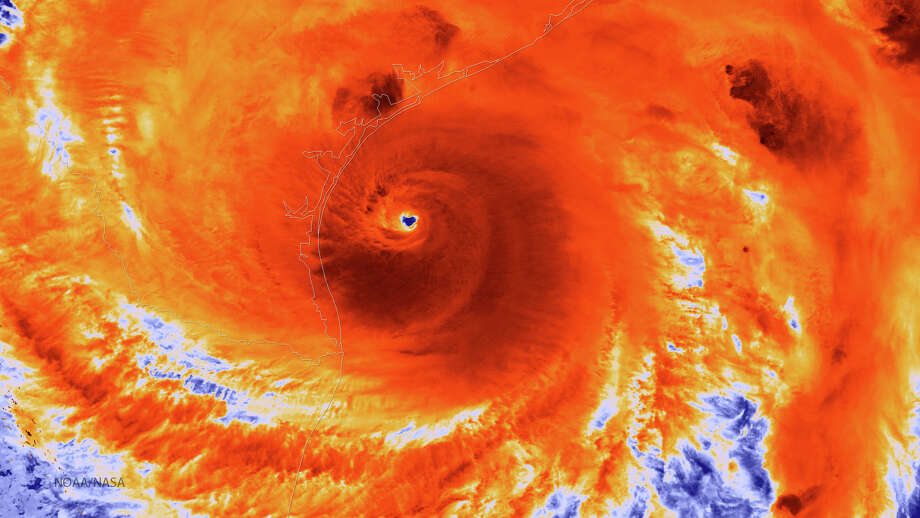Infrared image captures Hurricane Harvey just prior to landfall. Photo: Handout / 2017 NOAA