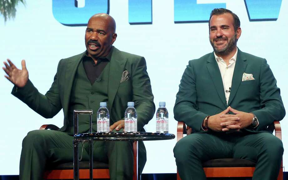 """Host/executive producer Steve Harvey, left, and executive producer Shane Farley participate in the """"Steve"""" panel during the NBC Television Critics Association Summer Press Tour at the Beverly Hilton on Thursday, Aug. 3, 2017, in Beverly Hills, Calif. (Photo by Willy Sanjuan/Invision/AP) Photo: Willy Sanjuan, INVL / 2017 Invision"""
