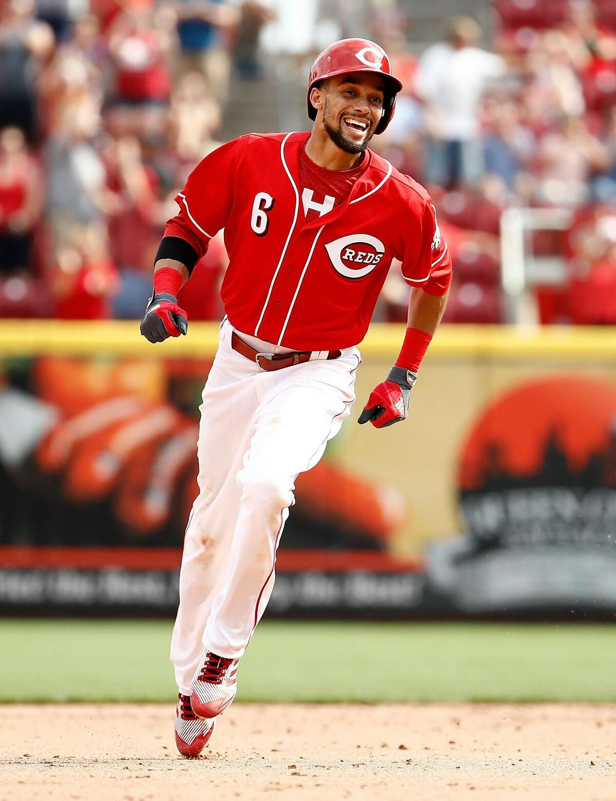 CINCINNATI, OH - SEPTEMBER 04: Billy Hamilton #6 of the Cincinnati Reds celebrates after hitting the game winning home run in the 9th inning against the Milwaukee Brewers at Great American Ball Park on September 4, 2017 in Cincinnati, Ohio. The Reds won 5-4. (Photo by Andy Lyons/Getty Images)
