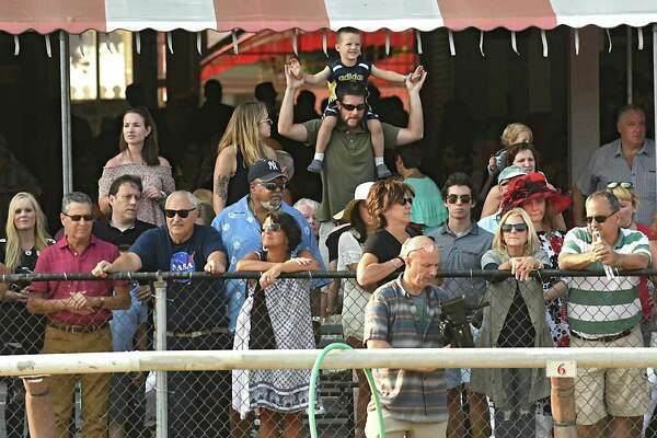 Patrons watch The Hopeful, the last feature race of the season at Saratoga Race Course on Monday, Sept. 4, 2017 in Saratoga Springs, N.Y. (Lori Van Buren / Times Union)
