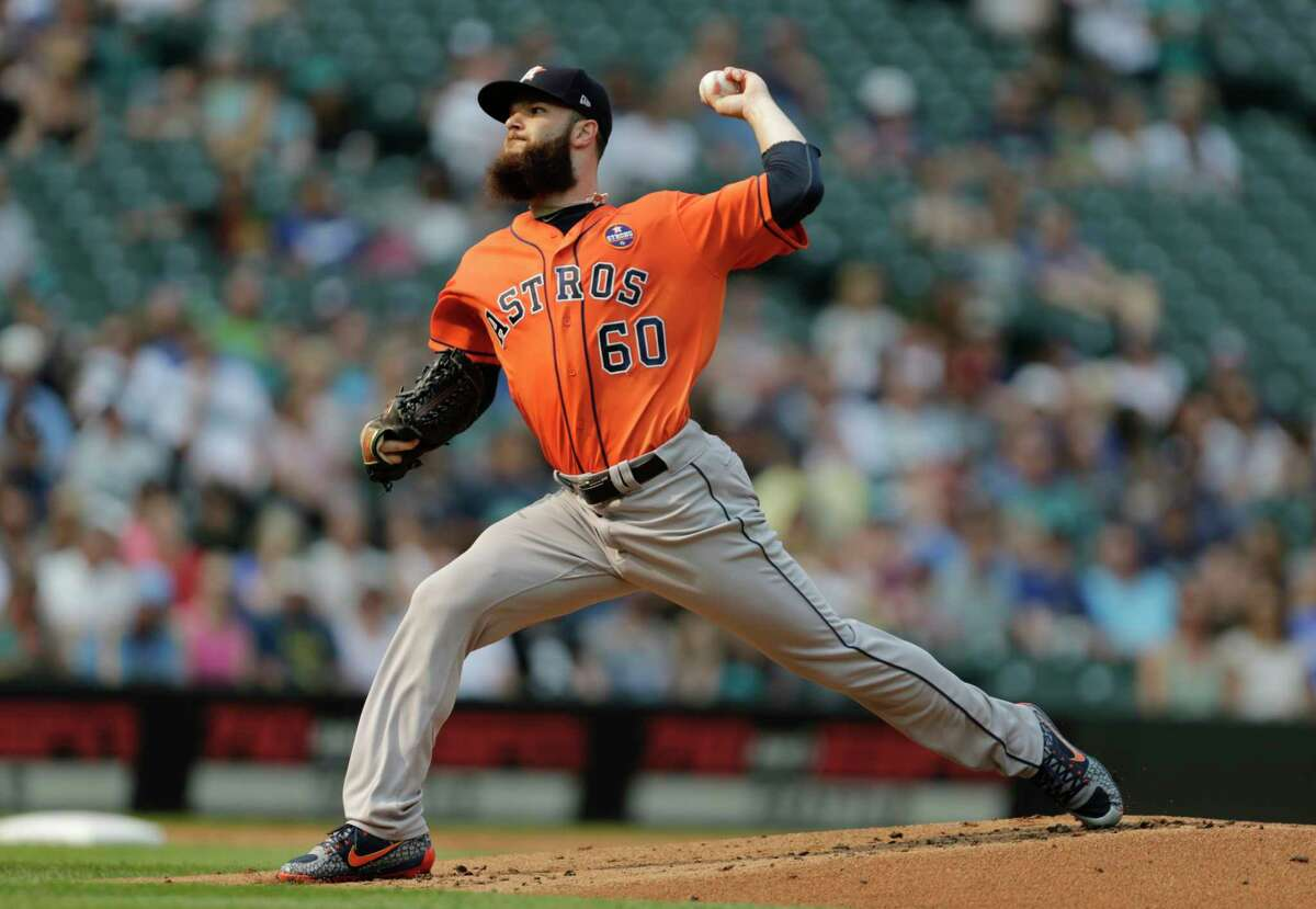 Houston Astros starting pitcher Dallas Keuchel works against the Seattle Mariners during the first inning of a baseball game, Monday, Sept. 4, 2017, in Seattle. (AP Photo/John Froschauer)